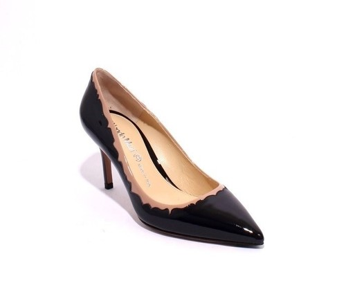 Dark Navy / Beige Patent Leather Pointy Pumps