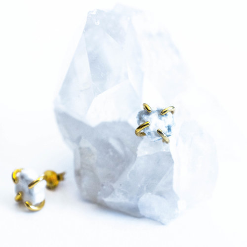 White Howlite Gemstone Prong
