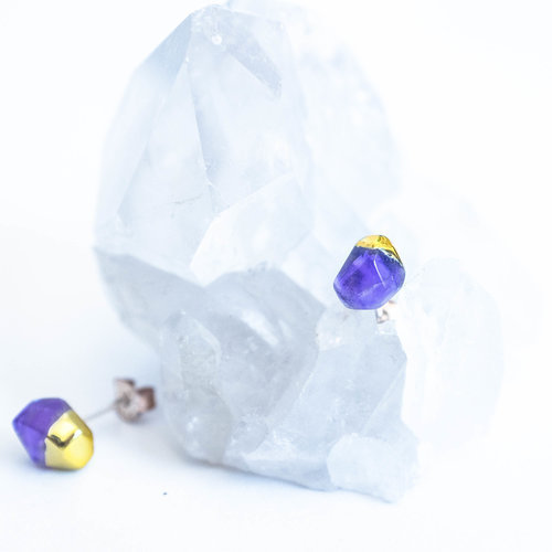 Amethyst Gold Dipped Studs