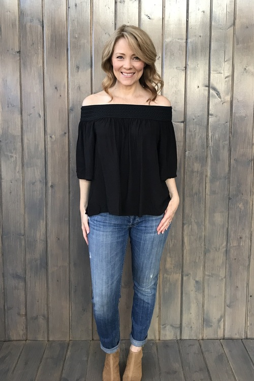 Lin Off Shoulder Top Black