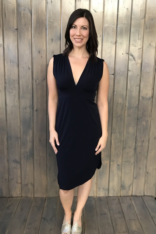 Navy Ity V Neck Dress