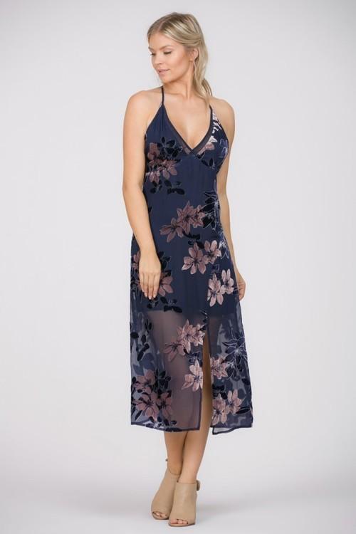 Floral Velvet Slip Dress