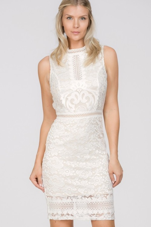 Lace High Neck Lace Bodycon Dress