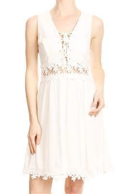 Lace Up Floral Waist Trim Dress