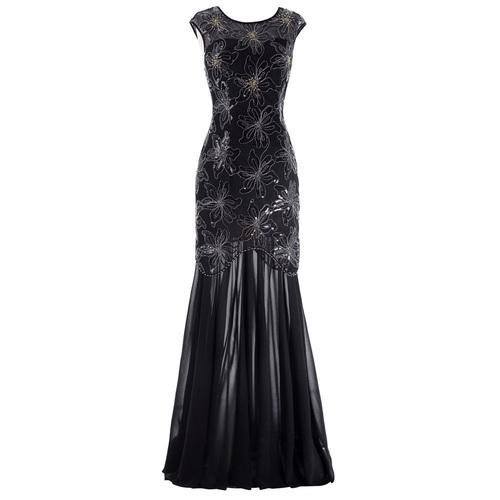 Valoria Dress in Black beaded chiffon