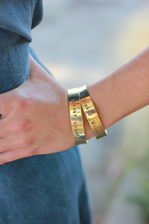 Stamped Brass Cuff Wide