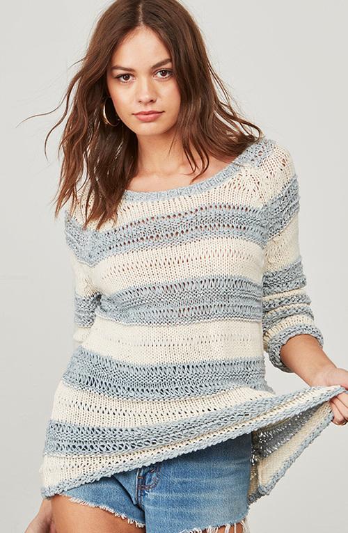 Harrington Stripe Knit Sweater Ivory