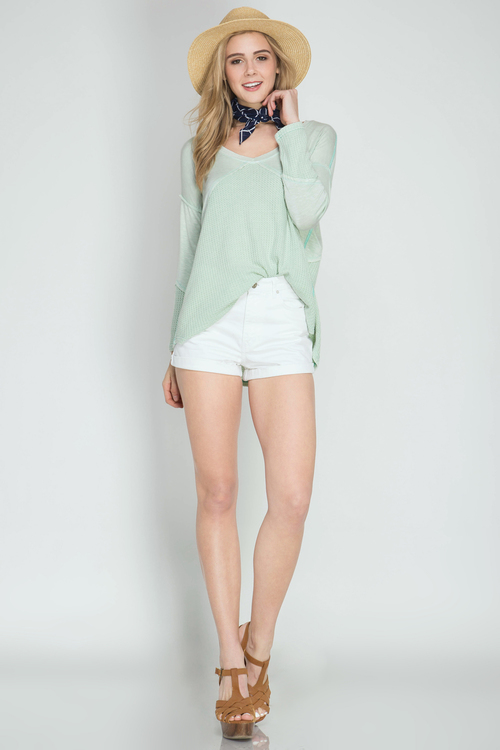 Long Sleeve Thermal Top with Contrast Fabric