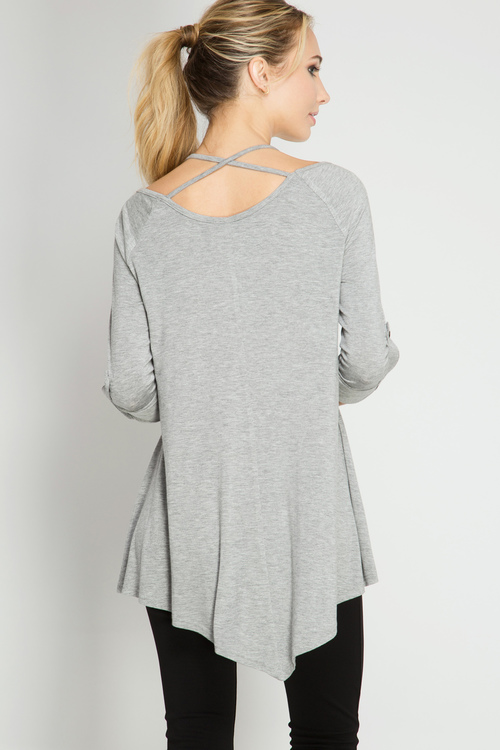 Long Sleeve Roll-Up Top with Neck Straps