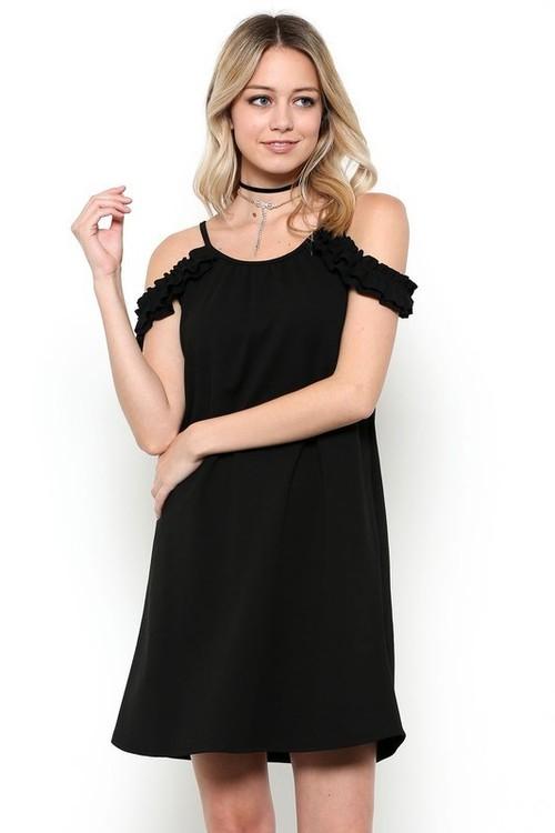 Anna ruffle sundress w/ pockets (Black)