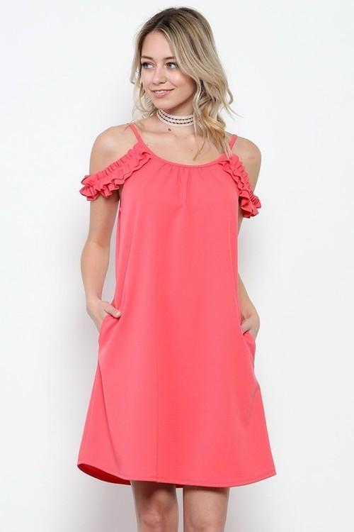 Anna ruffle sundress w/ pockets (Coral)