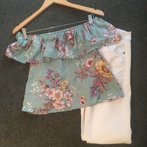 Aqua Floral Off The Shoulder To