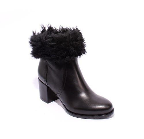 Black Leather / Suede / Shearling Lining Ankle Boots