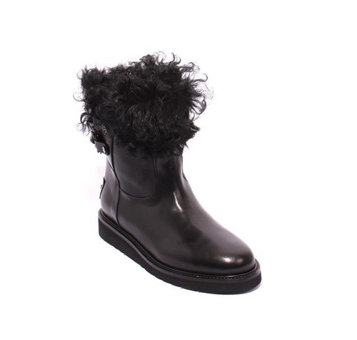 Black Leather Shearling Mid-Calf Platform Boots