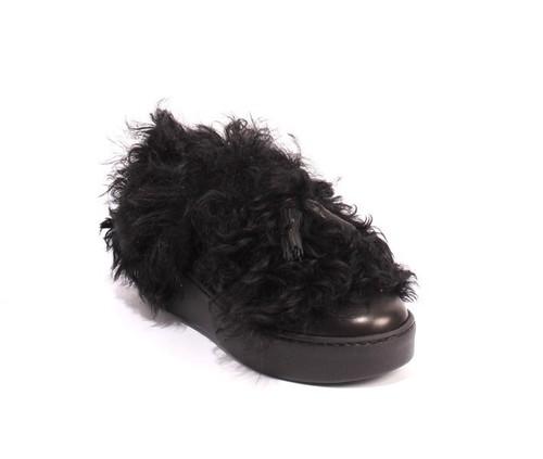 Black Leather Shearling Platform Shoe Boots