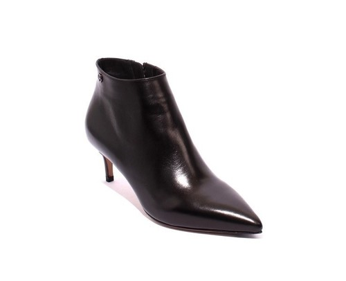 Black Leather Pointy Toe Stiletto Heel Ankle Boots