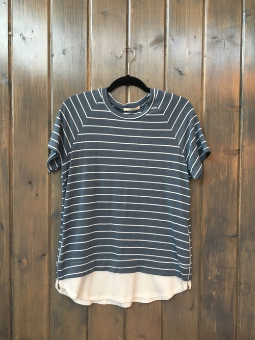 Zip Side Striped Pullover