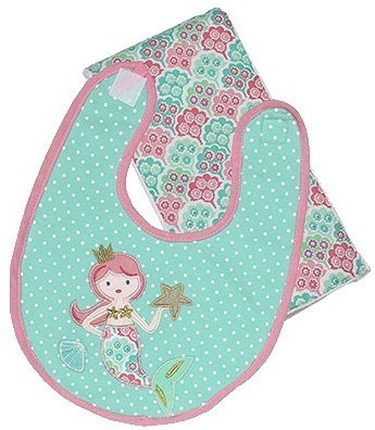 Coral the Mermaid Bib and Burp Gift Set