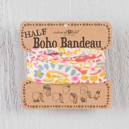 Cream & Pink Geometric Half Boho Bandeau