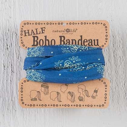 Indigo & Cream Mandala Half Boho Bandeau