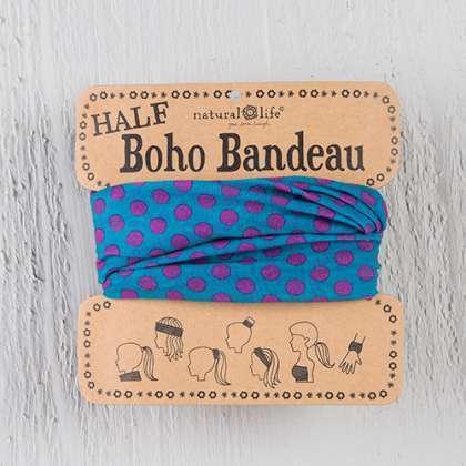 Turquoise & Pink Dots Half Boho Bandeau