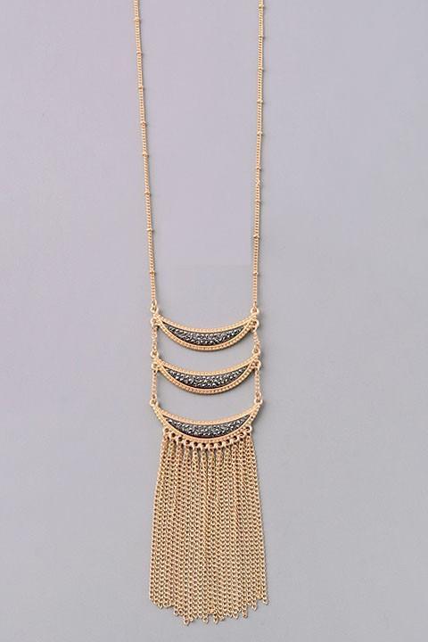 Ophelia long necklace (Gold/Hematite)