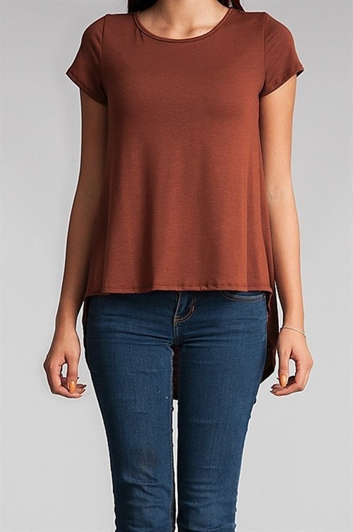 Abby high-low t-shirt (Brown)