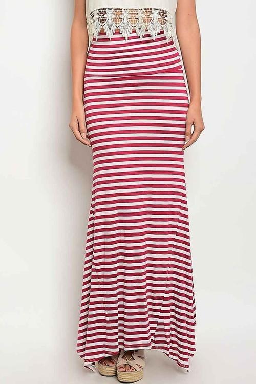 Tall Ship striped maxi skirt