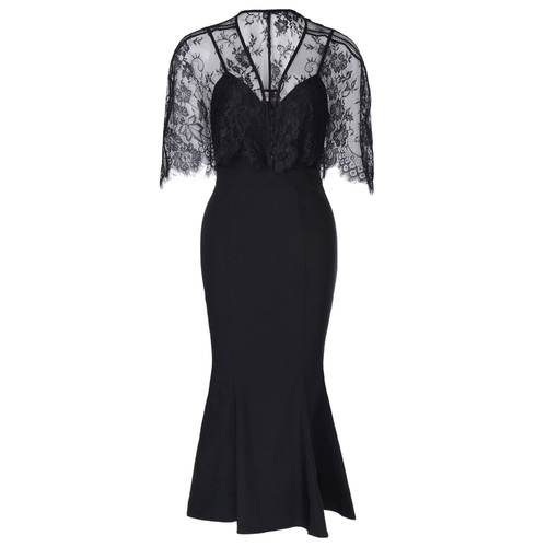 Elvira Dress in Black bengaline + lace