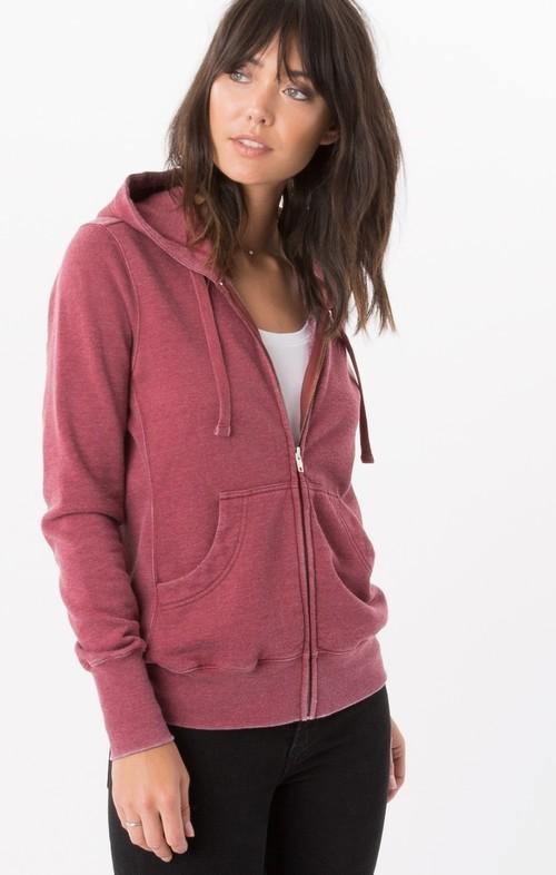 The Fleece Zip Hoodie Dark Ruby