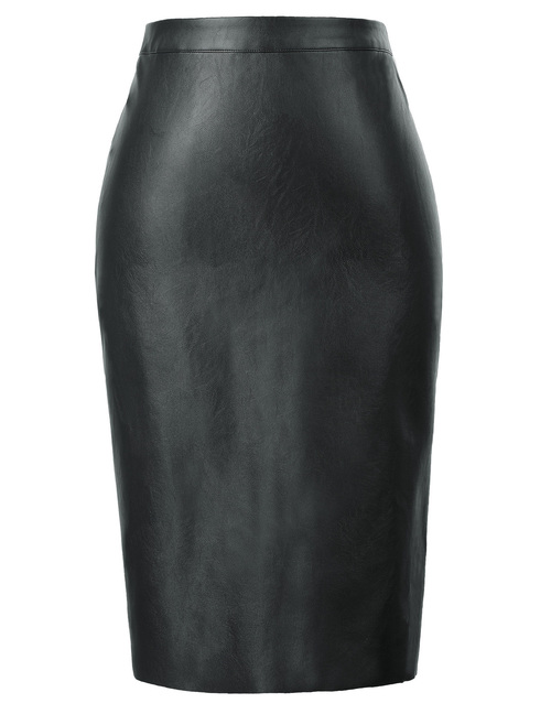 Vegan Leather Pencil Skirt in black