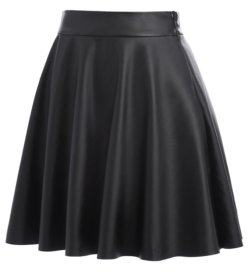 Vegan Leather skater skirt in black