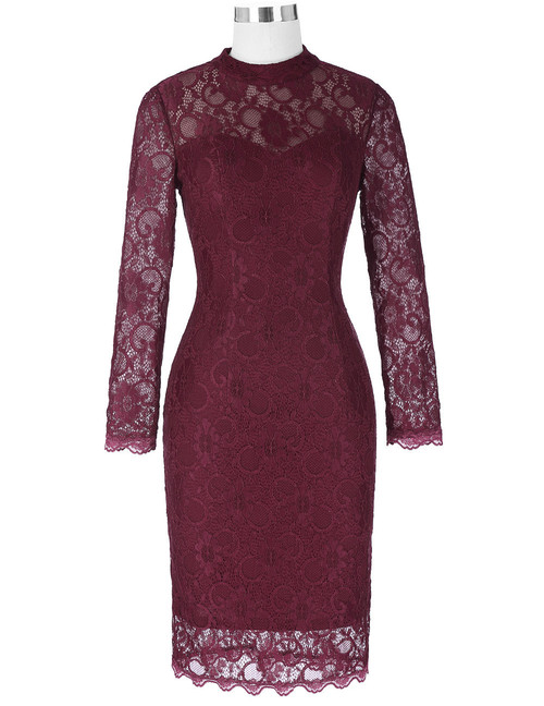 Cora dress in Burgundy Lace