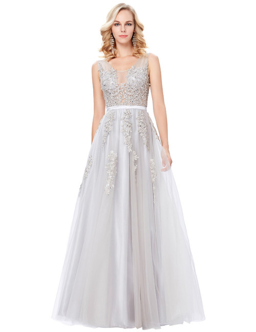 Belle Gown in White silver