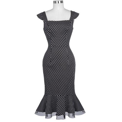 Lucy dress in black polkadot