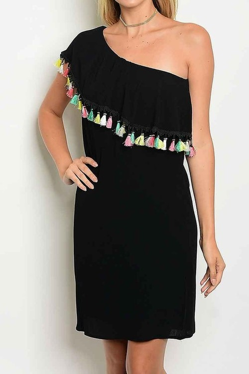 Fiesta one-shoulder dress (Black)