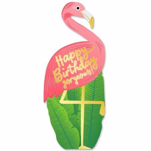 Birthday Flamingo Die Cut Card
