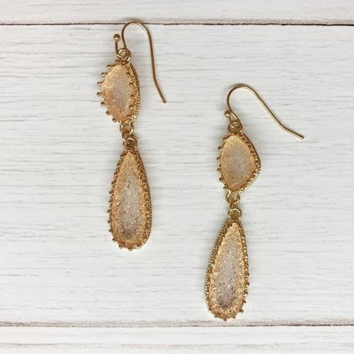 Dbl. Druzy Teardrop Dangle
