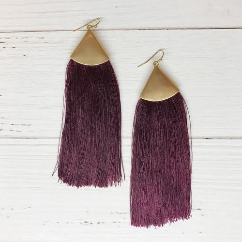 Long Burgundy Thread Tassel Dangle