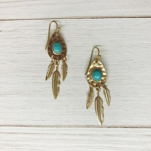 Feather Oval Dangle