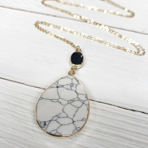 White/ Black Stone Pendant Long Necklace