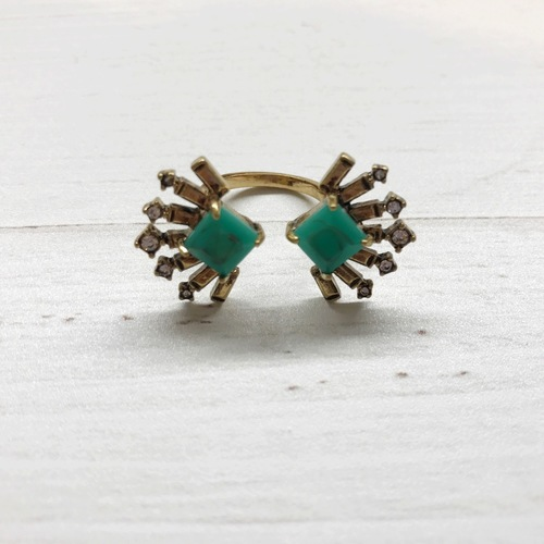 Green Deco Burst Ring