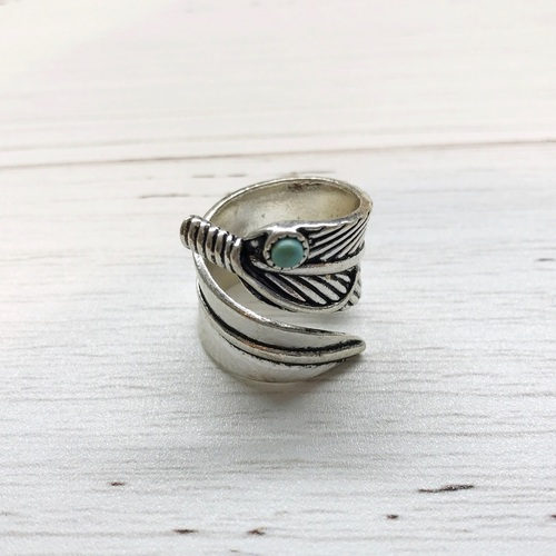 Silver Feather Turq Ring