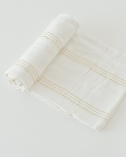 Gold Stripe Deluxe Muslin Swaddle Blanket