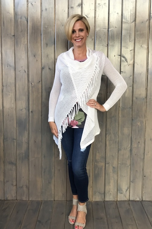 Asymmetrical Open Weave White Cardigan