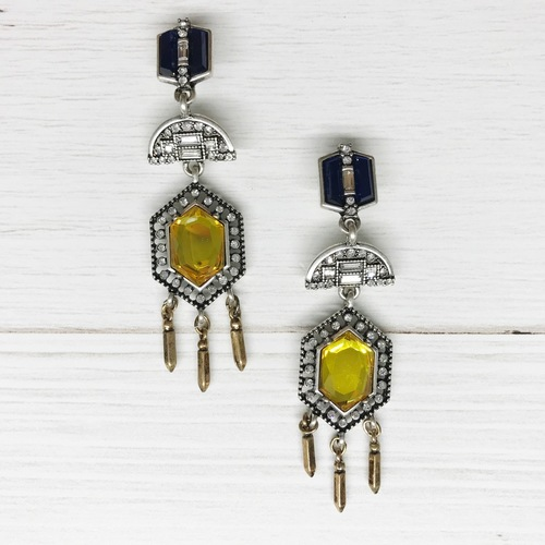 Drop Hex Fringe Earring