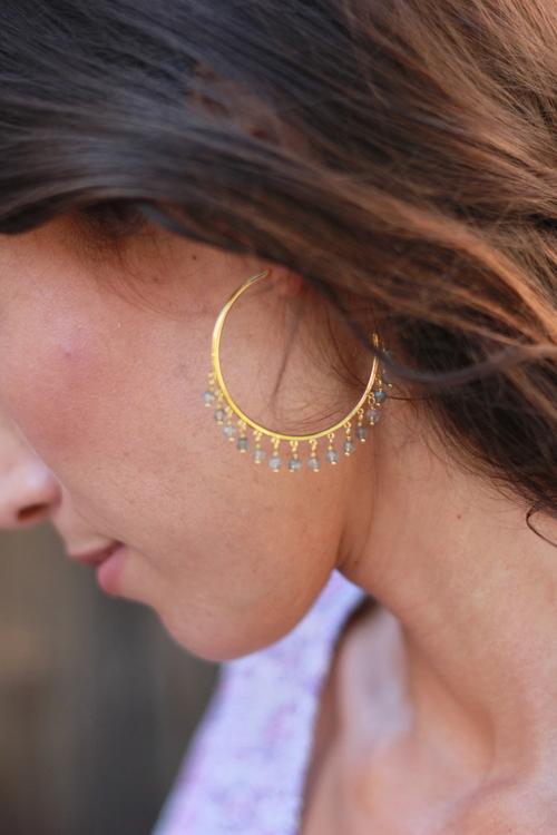 Sol Gemstone hoops, labradorite
