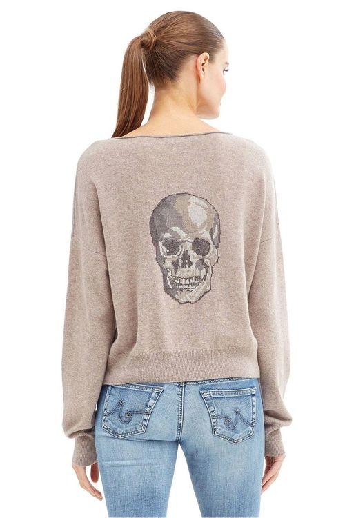 Lou Pullover Camo Skull Back Cashmere Sweater