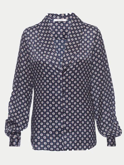 Mini Paisley Shawl Collar Button Up Shirt