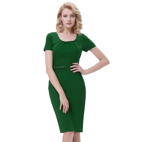 Annabella Dress in Green Bengaline